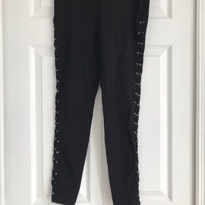 Express Black Lace Up Leggings Size Small NWT